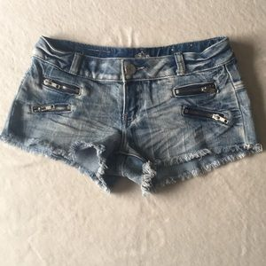 Almost Famous Destroyed Zipper Jean Shorts